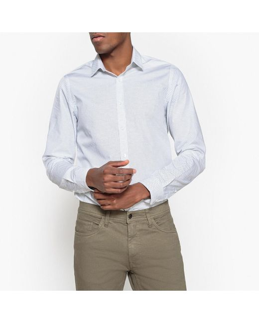 LA REDOUTE - White Slim Fit Polka Dot Print Shirt for Men - Lyst