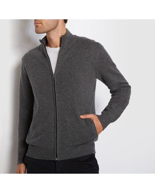 LA REDOUTE | Gray Lambswool High Neck Zip-up Cardigan for Men | Lyst