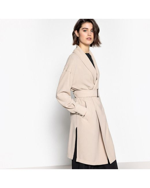 LA REDOUTE - Natural Belted Fluid Coat - Lyst