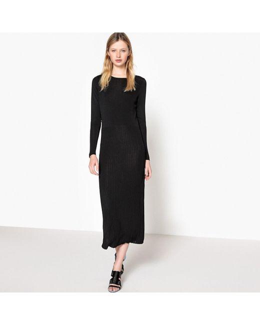 LA REDOUTE - Black Plain Long Shift Dress With Long Sleeves - Lyst