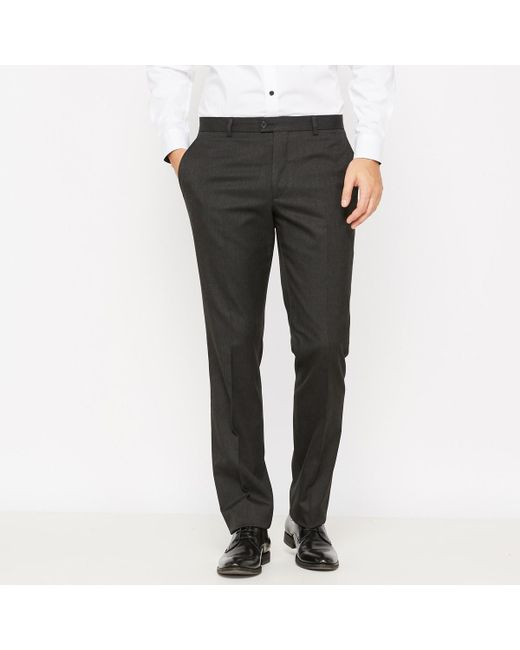 LA REDOUTE | Gray Slim Fit Suit Trousers for Men | Lyst