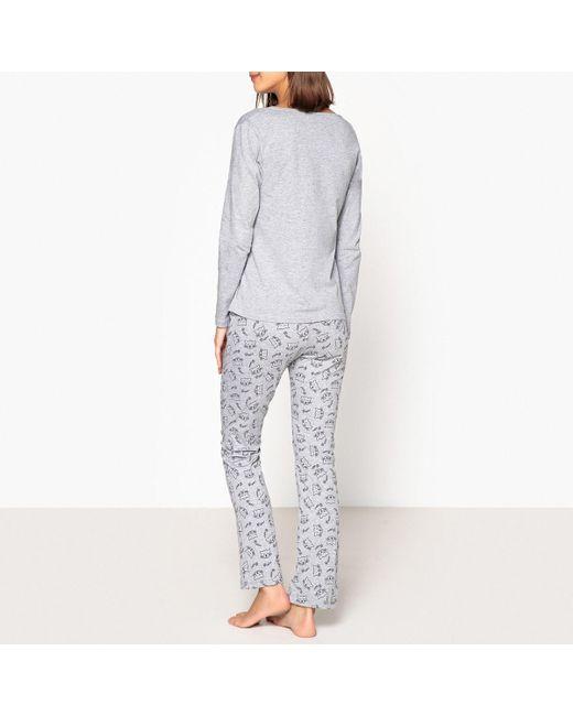 dfea727e96a91 ... LA REDOUTE - Gray Cat Hug Slogan 3-piece Pyjama Set - Lyst ...