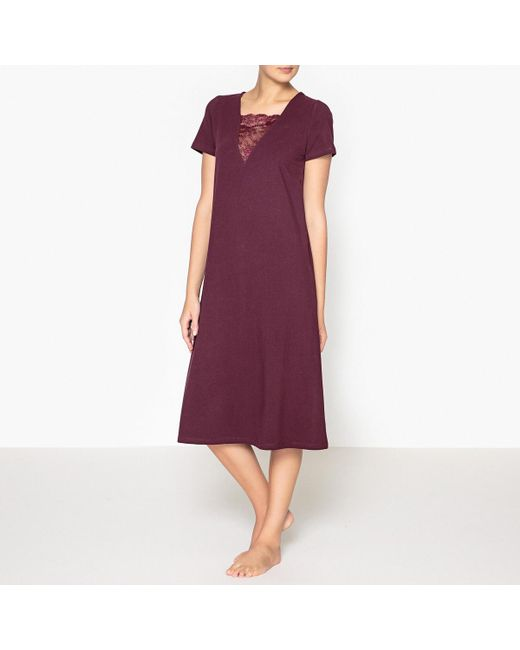 LA REDOUTE | Purple Nightshirt With Lace Detail | Lyst