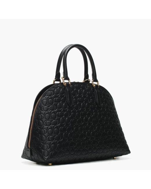 ... spain coach quinn black signature leather satchel bag lyst 1c243 f8993 ae649c4dccf2b
