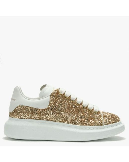 b7954d70a Alexander McQueen Gold Glitter Lace Up Sporty Trainers in Metallic ...