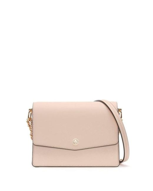Tory Burch - Pink Robinson Convertible Pale Apricot & Royal Navy Shoulder Bag - Lyst