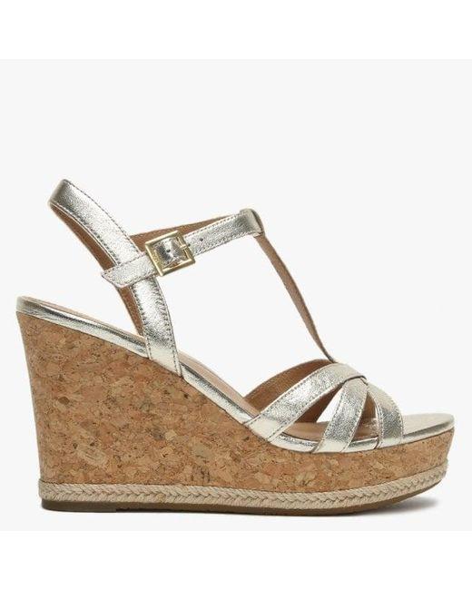 33ba6a77b9a Women's Melissa Gold Metallic Leather T Bar Wedge Sandals