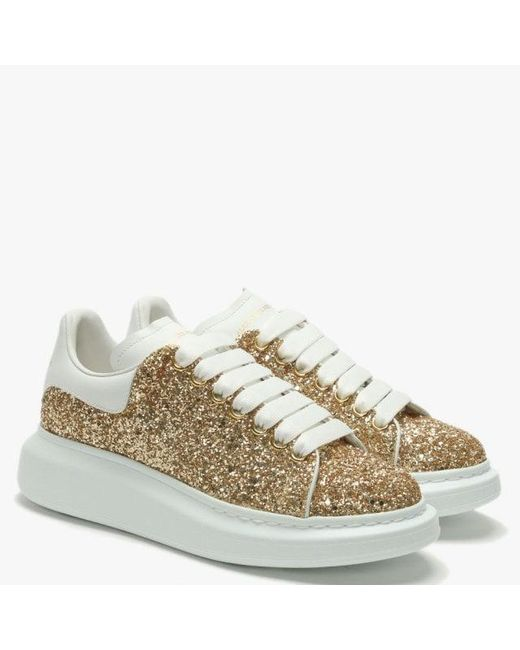 51d031684 ... Alexander McQueen Metallic Gold Glitter Lace Up Sporty Trainers ...