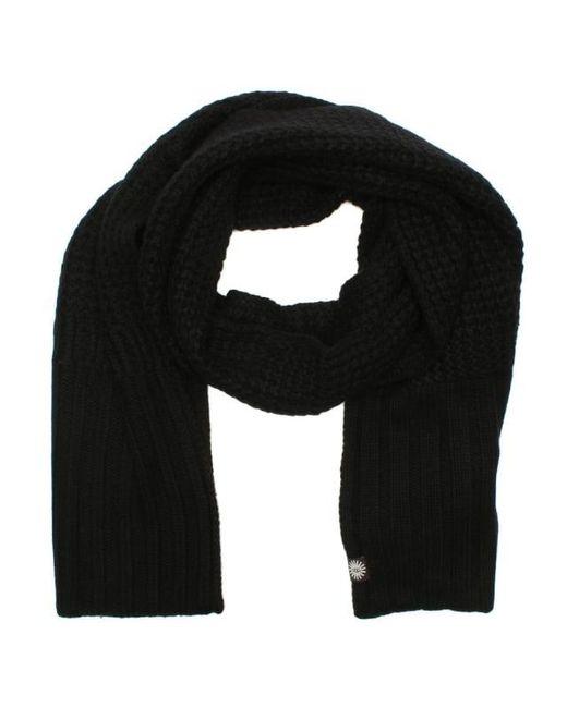 Ugg - Cardi Black Textured Wool Scarf - Lyst ...