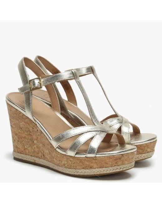 36ca786e4c8 UGG Melissa Gold Metallic Leather T Bar Wedge Sandals in Metallic - Lyst