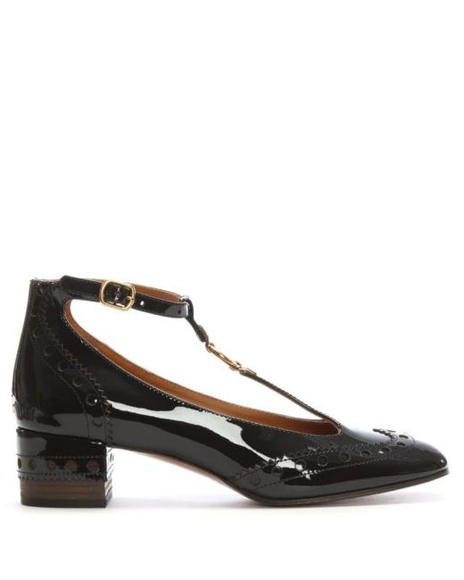 Chlo 233 Chloe Perry 45 Brown Patent Leather T Bar Court