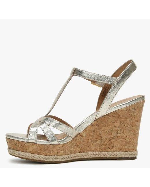 16a371e9cf2 UGG Melissa Gold Metallic Leather T Bar Wedge Sandals - Lyst