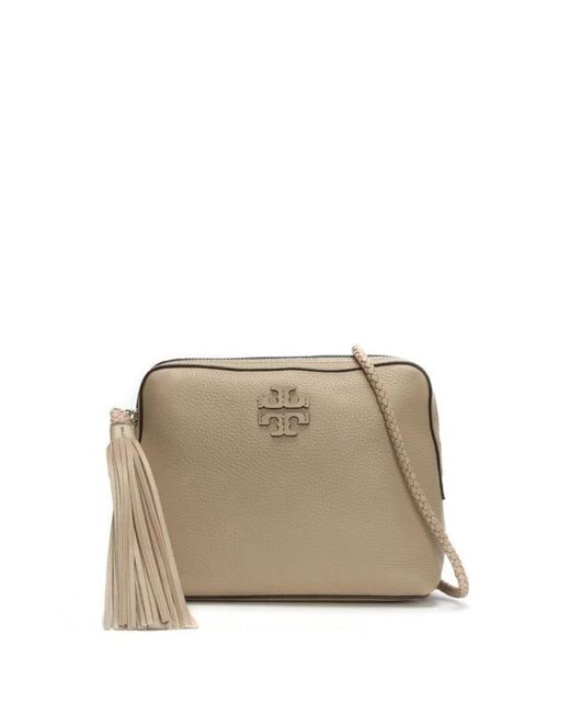 Tory Burch | Natural Taylor Soft Clay Leather Tassel Camera Bag | Lyst