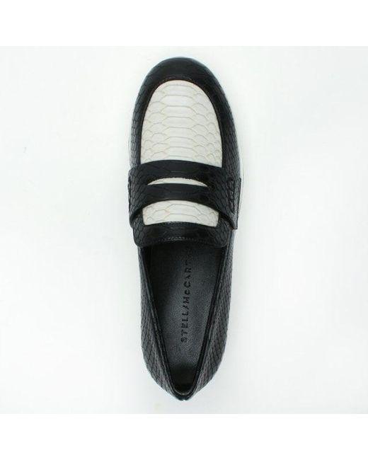 2977ff43ec9 ... Stella McCartney - Binx Black   White Reptile Platform Loafers - Lyst