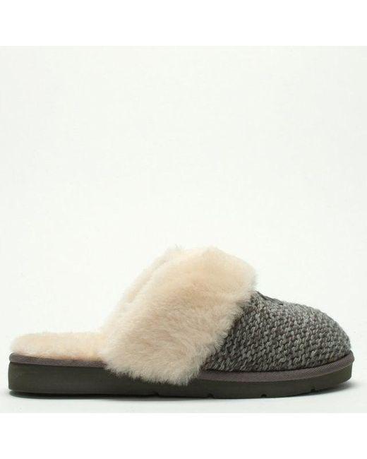 f7f73875a Ugg - Gray Cozy Knit Charcoal Sheepskin Slippers - Lyst ...