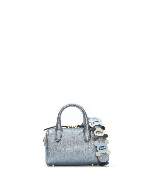 Anya Hindmarch | Circulus Mini Vere Blue Metallic Leather Barrel Bag Col | Lyst