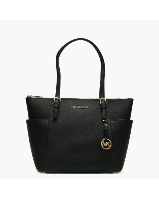Michael Kors Jet Set Pocket Black Leather Top Zip Tote Bag in Black ... bde95fd2323bb
