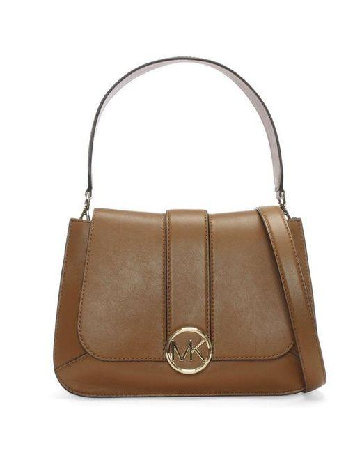 292f2eac6ade Michael Kors - Brown Medium Lillie Acorn Leather Flapover Satchel Bag - Lyst  ...