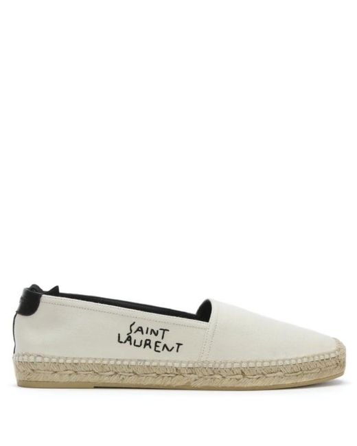 Off-White Canvas Logo Espadrilles Saint Laurent TEJuh33OR