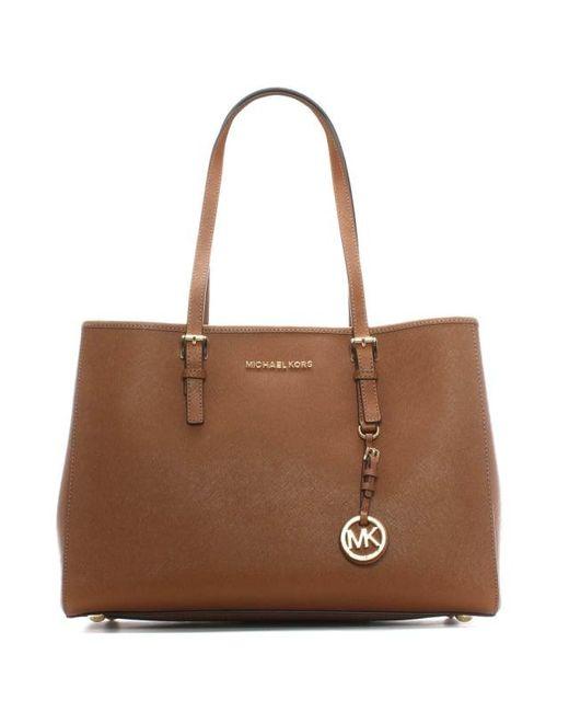 Michael Kors - Brown Jet Set Travel Tan Large Leather Tote Bag - Lyst