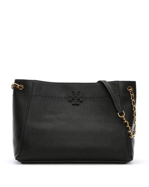 c2f990a0df01 Lyst - Tory Burch Mcgraw Black Leather Slouchy Tote Bag in Black