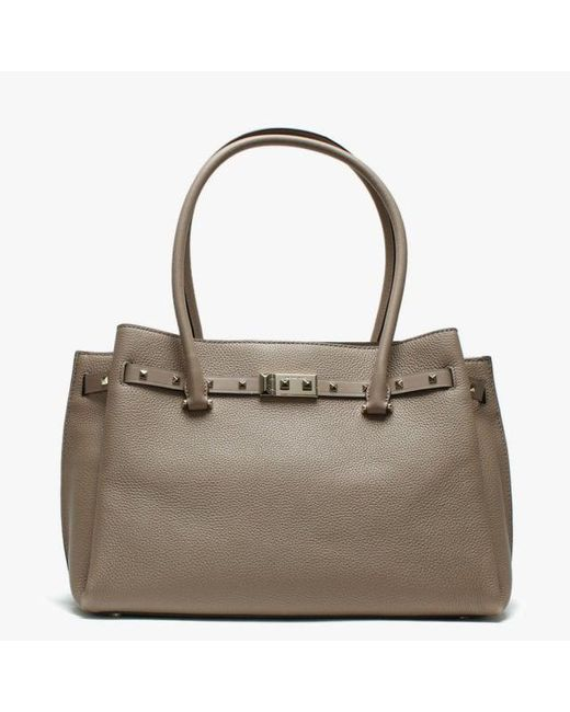 4395106bfc7e Michael Kors - Brown Large Addison Pebbled Truffle Leather Tote Bag - Lyst  ...
