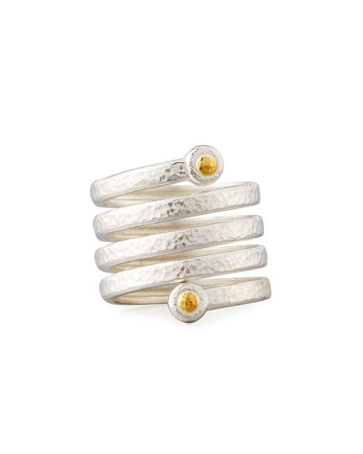 Gurhan   Metallic Hammered Sterling Silver Spring Ring   Lyst
