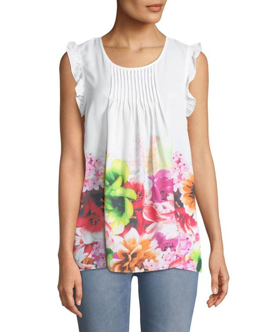 Cece by Cynthia Steffe - Multicolor Pleated-front Floral Blouse - Lyst