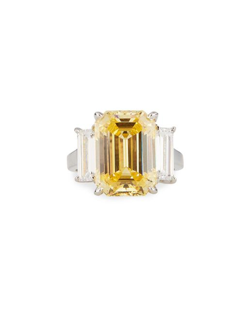 Fantasia by Deserio - Large Cubic Zirconia Cushion Ring Yellow/clear Sizes 6-8 - Lyst