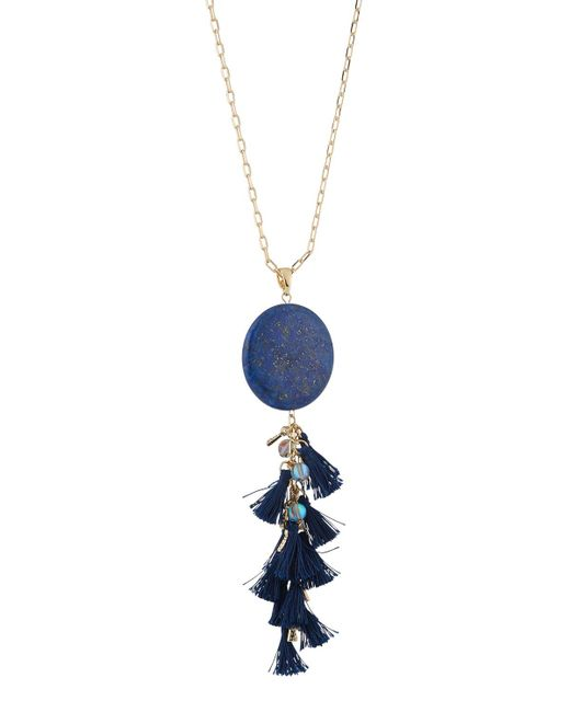 Lydell NYC - Blue Semiprecious Tassel Pendant Necklace - Lyst