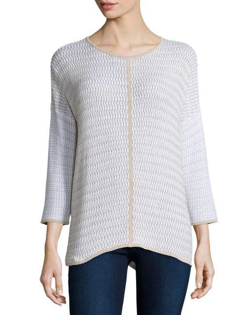 Belford - Blue Long-sleeve Oversized Pullover W/ Trim - Lyst