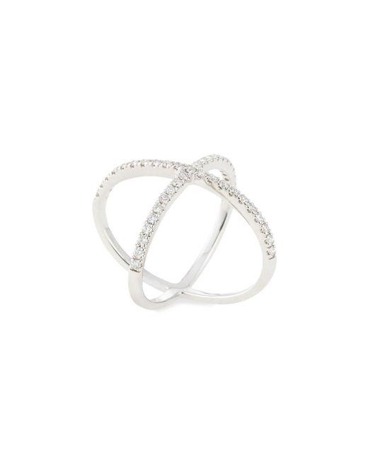 Neiman Marcus | 18k White Gold Pave Diamond X Ring | Lyst
