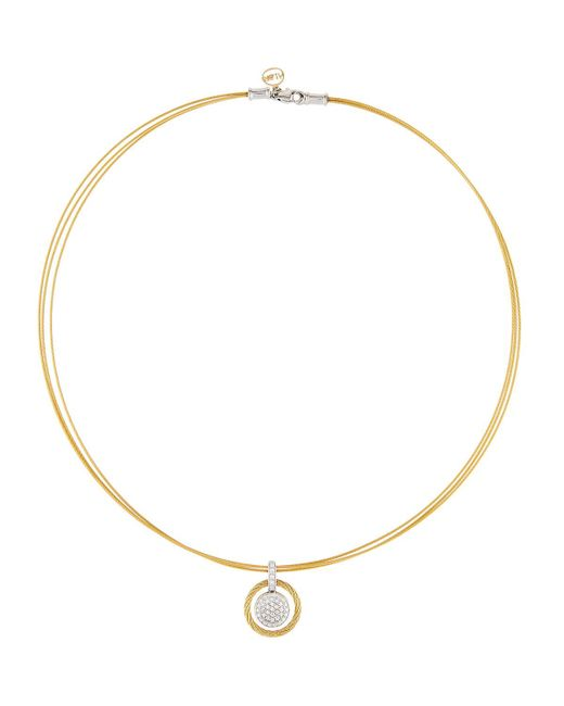 Alor - Yellow 18k Pave Diamond Micro-cable Circle Pendant Necklace - Lyst