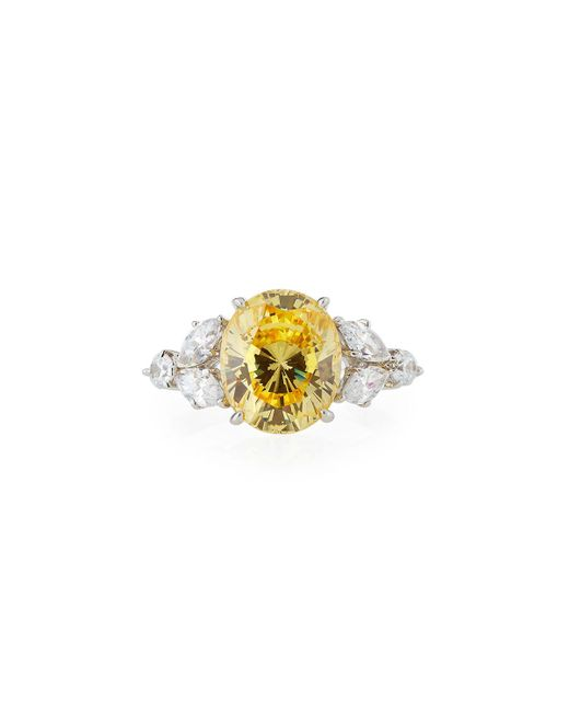 Fantasia by Deserio - Yellow Oval Cubic Zirconia Ring W/ Side Stones - Lyst