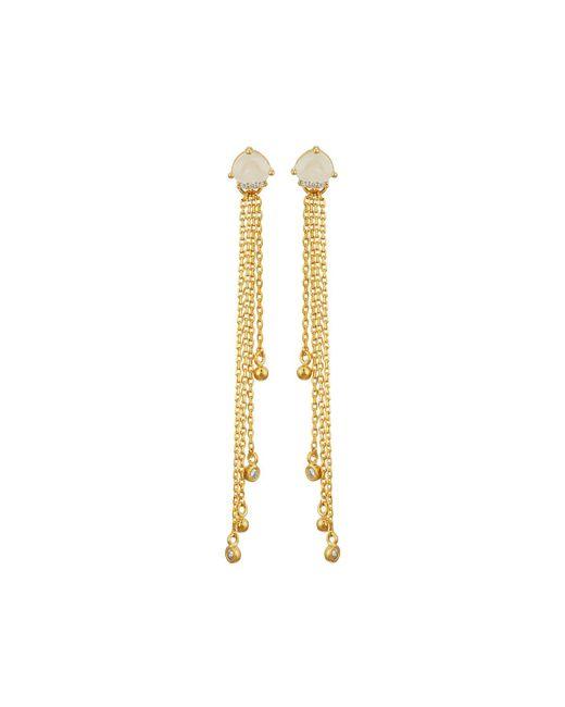 Tai | Metallic Golden Rose Quartz Crystal Threader Earrings | Lyst