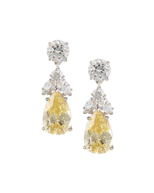 Fantasia by Deserio - White Pear Canary Crystal Drop Earrings - Lyst
