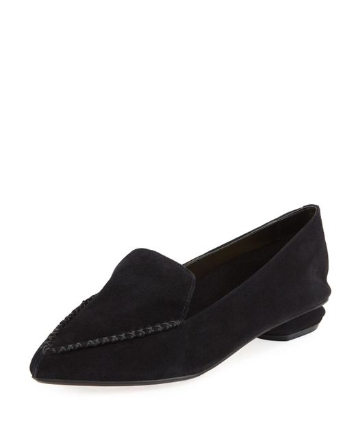 Neiman Marcus Black Kith Suede Loafers