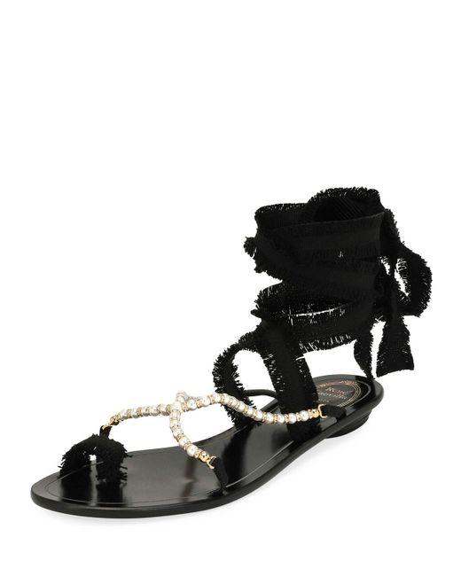 Rene Caovilla - Black Pearlescent Ribbon Flat Sandals - Lyst