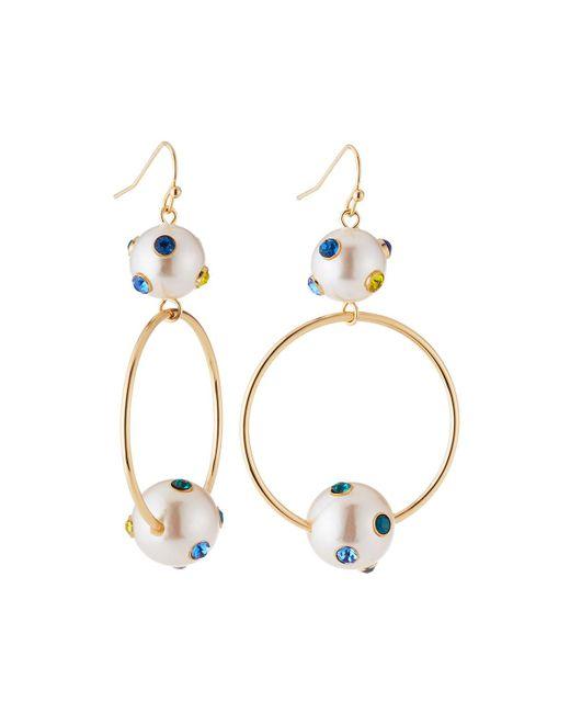 Lydell NYC - Metallic Pearly Hoop Drop Earrings - Lyst