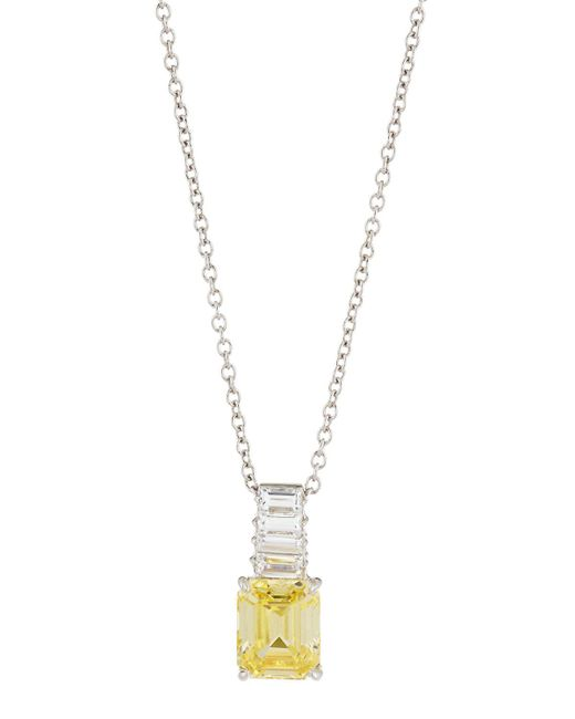 Fantasia by Deserio - White Emerald-cut Canary Cz Pendant Necklace - Lyst