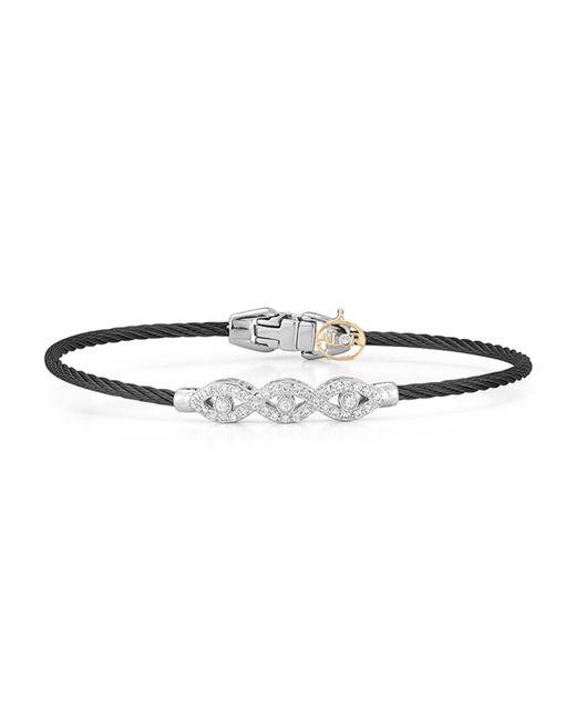 Alor - Black 18k Gold Triple Diamond Cable Bangle - Lyst