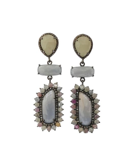 Bavna - Metallic Silver 3-drop Earrings With Multicolor Sapphire & Diamonds - Lyst