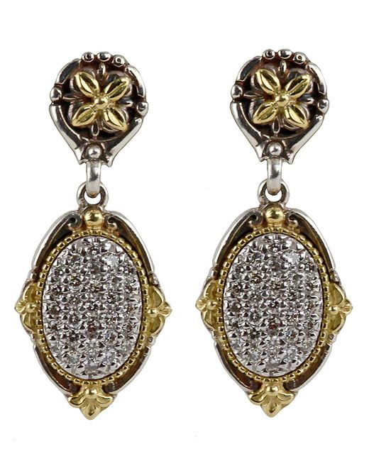 Konstantino - Multicolor Asteri Pave White Diamond Double-drop Earrings - Lyst