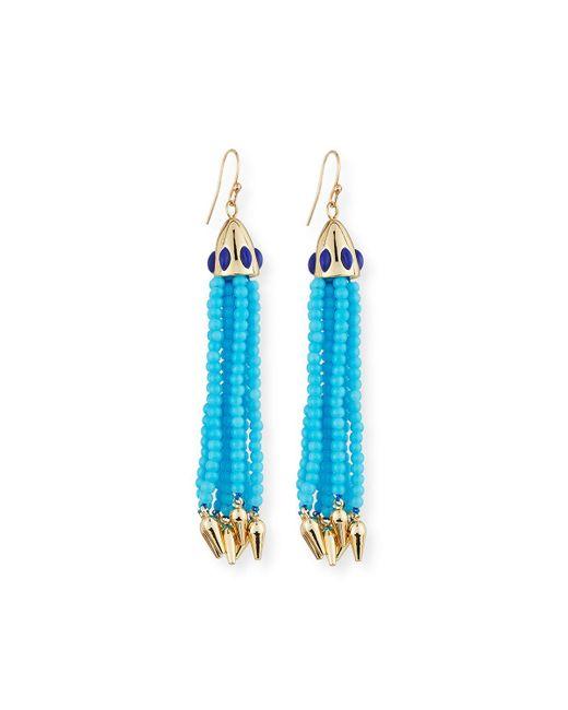 Lulu Frost - Beaded Blue Tassel Drop Earrings - Lyst