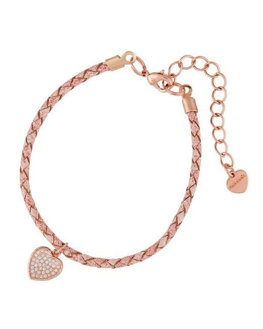 Nakamol | Pink Braided Leather Bracelet W/ Heart Charm | Lyst