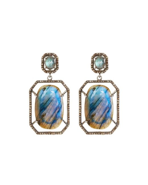 Bavna | Blue Octagonal Labradorite & Diamond Drop Earrings | Lyst