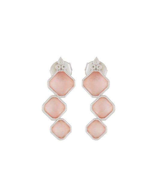 Jude Frances | Metallic Encore Sterling Silver Pink Opal/rose Quartz 3-stone Earrings | Lyst