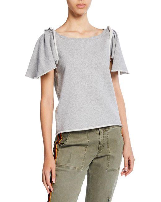 Pam & Gela Gray Ruffle Sleeve Shrunken Sweatshirt