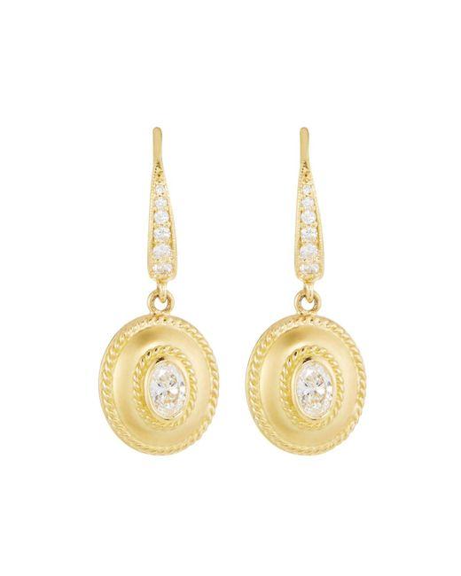 Penny Preville Metallic Small 18k Gold Fluted Diamond Oval Drop Earrings
