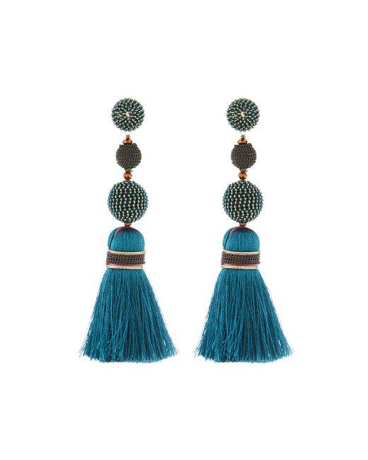 Nakamol - Blue Mixed Bead & Tassel Drop Earrings - Lyst